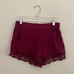 Express Red Crochet Lace Trim Shorts w/ Pockets